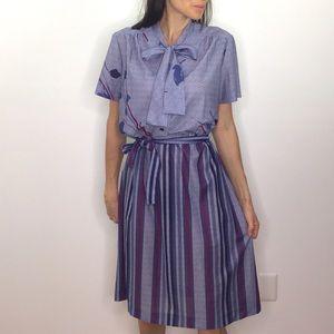 Vintage Neck Tie Secretary Collared Dress